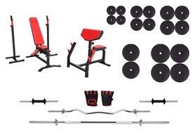 Набор силовой Marbo Sport MS4 (скамья со стойкой + приставка Скотта + штанга наборная), 194 кг (2370)