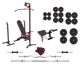 Набор силовой Marbo Sport MH25 (скамья со стойкой + приставка Скотта + верхняя и нижняя тяга + приспособление для ног + штанга наборная ), 154 кг (2369)