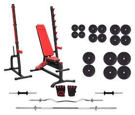 Набор силовой Marbo Sport MS8 (скамья со стойкой + штанга наборная), 188 кг (2368)
