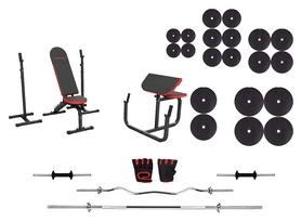 Набор силовой Marbo Sport MH9 (скамья со стойкой + приставка Скотта + штанга наборная), 177 кг (2367)