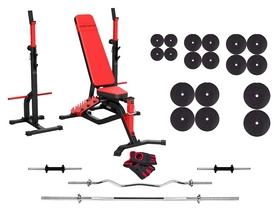 Набор силовой Marbo Sport MS34 (скамья со стойкой + штанга наборная), 167 кг