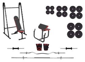 Набор силовой Marbo Sport MH10 (скамья со стойкой + приставка Скотта + штанга наборная), 148 кг