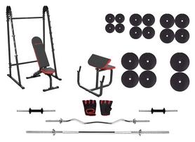 Набор силовой Marbo Sport MH10 (скамья со стойкой + приставка Скотта + штанга наборная), 178 кг