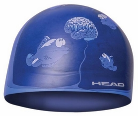 Шапочка для плавания Head Silicone Sketch, синяя с рисунком (455180.VIO BRAI)