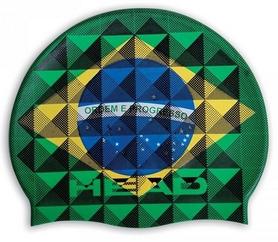 Шапочка для плавания Head Flag Suede Brazil, зелено-желто-синяя (455288.BRA)