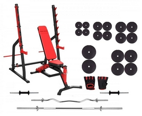 Фото 1 к товару Набор силовой из скамьи и стоек Marbo Sport MS3 со штангой, 182 кг (MS3-182)