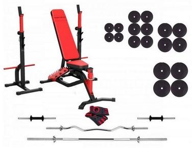 Набор силовой из скамьи и стоек Marbo Sport MS34 со штангой, 142 кг (MS34-142)