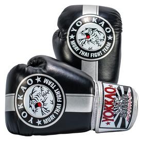 Перчатки боксерские Yokkao Official Fight Team Gloves Silver Edition, черно-серые (FP-FYGL-23-31)