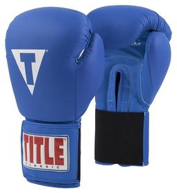 Перчатки боксерские Title Classic Leather Elastic Training Gloves, синие (FP-CTSGV-BL)