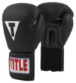 Перчатки боксерские Title Classic Leather Elastic Training Gloves, черные (FP-CTSGV-BK)