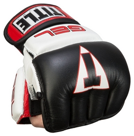 Перчатки снарядные кожаные Title Gel Incensed Wristwrap Heavy Bag Gloves, черно-белые (FP-GIWHBG)