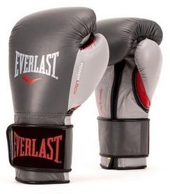 Перчатки боксерские Everlast Powerlock Hook & Loop Training Gloves Leather - серо-красные (FP-P00000602)