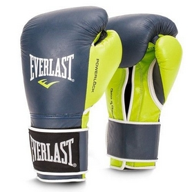 Перчатки боксерские Everlast Powerlock Hook & Loop Training Gloves Leather - cине-зеленые (FP-P00000617)
