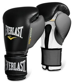 Перчатки боксерские Everlast Powerlock Hook & Loop Training Gloves Leather - черно-серые (FP-2200655)