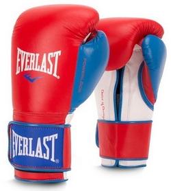 Перчатки боксерские Everlast Powerlock Hook & Loop Training Gloves Leather - красно-синие (FP-P000007)