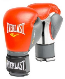 Перчатки боксерские Everlast Powerlock Hook & Loop Training Gloves Leather - красные (FP-2200)