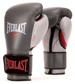 Перчатки боксерские Everlast Powerlock Hook & Loop Training Gloves Leather - серые (FP-P00000731)