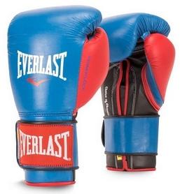 Перчатки боксерские Everlast Powerlock Hook & Loop Training Gloves Leather - сине-красные (FP-P00000)