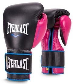 Перчатки боксерские Everlast Powerlock Hook & Loop Training Gloves Leather - черно-розовые (FP-P00000745)