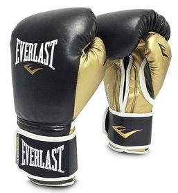 Перчатки боксерские Everlast Powerlock Hook & Loop Training Gloves Leather - черные (FP-P00000723)