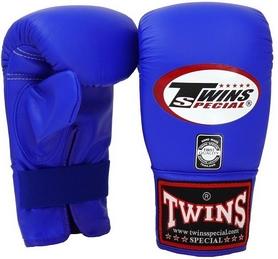 Перчатки снарядные кожаные Twins Muay Thai Bag Gloves, синие (FP-TW-G-020-B)