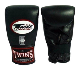 Перчатки снарядные кожаные Twins Muay Thai Bag Gloves, черные (FP-TW-G-020-A)