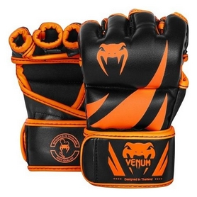 Перчатки для MMA Venum Challenger Gloves-Skintex Leather, черно-оранжевые (FP-2051)