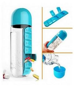 Бутылка для воды спортивная Asobu Pill Vitamin - голубая, 600 мл (FO-123545)