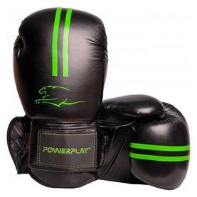 Перчатки боксерские PowerPlay 3016, зеленые (3016-GN)