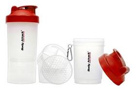Шейкер+2 контейнера Shake Bottle SmartShake Body Atack - прозрачный-красный, 400 мл (ShakeBottle_BA)