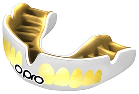 Капа Opro Power Fit Bling-Teeth, бело-золотая (PF_Bling-Teeth_White/Gold)