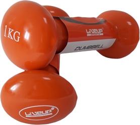 Гантели для фитнеса неопреновые LiveUpVinyl DumbbellEgg Head, 2 шт по 1 кг (LS2001-1)