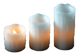 Комплект из 3-х свечей декоративных Mica Decorations, бело-желтый (8712799937918)