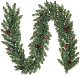 Гирлянда декоративная искусственная с декоративными шишками и ягодами Black Box Trees Edelman Creston Frosted - зеленая, 180 см (8718861153019)