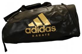 Распродажа*! Сумка-рюкзак (2 в 1) adidas кож/зам. Цвет черный, золотой логотип Karate. CC051K - M-62*31*31