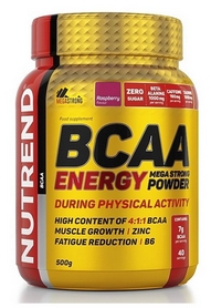Аминокислоты Nutrend BCAA Energy Mega Strong Powder - малина, 500 г (NUT-2021)