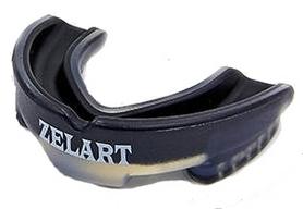 Капа боксерская Zelart BO-3535, черно-прозрачная