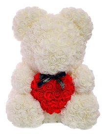Мишка из роз c сердцем UFT Bear Flowers UFT B2 - белый, 40 см (B2White)