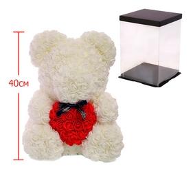 Мишка из роз c сердцем UFT Bear Flowers UFT B2 - белый, 40 см (B2White) - Фото №2