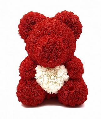 Мишка из роз c сердцем UFT Bear Flowers UFT B2 - красный, 40 см (B2Red)