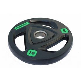 Диск олимпийский обрезиненный Fitnessport RCP 17-10 - черный, 10 кг