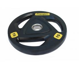 Диск олимпийский обрезиненный Fitnessport RCP 17-15 - черный, 15 кг