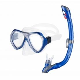 Детская маска с трубкой для плавания Aqua Speed Aura Evo Синий с белым (aqs210)