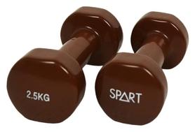 Гантели виниловые Spart, 2 шт по 2,5 кг - коричневые (DB2113-2,5Brown)