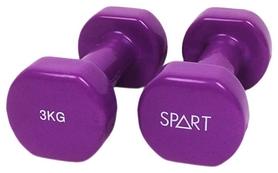 Гантели виниловые Spart, 2 шт по 3 кг - фиолетовые (DB2113-3Purple)