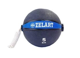 Мяч медицинский (медбол) с веревкой Zelart Medicine Ball FI-5709-5, 5 кг