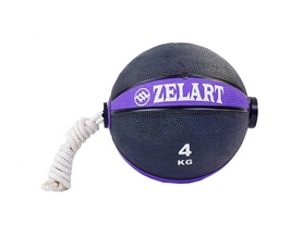 Мяч медицинский (медбол) с веревкой Zelart Medicine Ball FI-5709-4, 4 кг