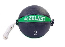 Мяч медицинский (медбол) с веревкой Zelart Medicine Ball FI-5709-3, 3 кг