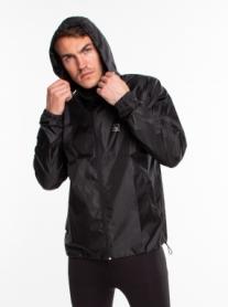 Ветровка-дождевик с капюшоном мужская Rough Radical Flurry (original) (SL8043) - черная