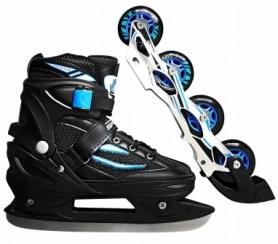 Коньки роликовые раздвижные SportVida 4 в 1 Black/Blue (SV-LG0028)